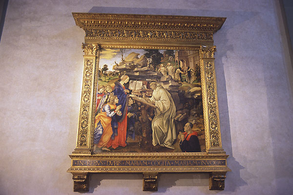Filippino Lippi (600Wx400H) - Inside the Badia Fiorentina: Filippino Lippi, 'Apparizione della Vergine a San Bernardo' [1485] (Photo by Paolo Ramponi)