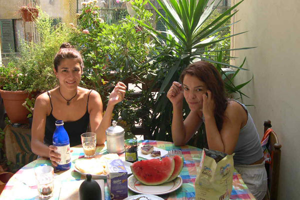 Breakfast (600Wx400H) - Breakfast on the terrace for two nice Spanish students.