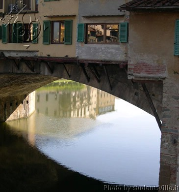 Reflections (365Wx390H) - Reflection under Ponte Vecchio (Photo by James Henkel)