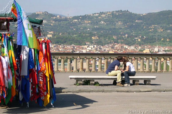 Peace and Love (600Wx400H) - Peace flags, a passionate kiss, spring time sun and the Fiesole hill on the background... Do you want any more?