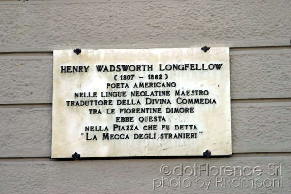 Henry W. LongFellow (600Wx400H) - Henry Wadsworth LongFellow, the translator of the Divine Comedy lived in Santa Maria Novella Square...(Photo by Paolo Ramponi)
