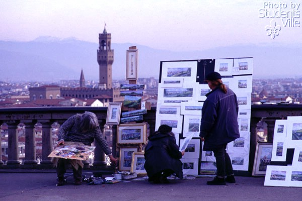At Piazzale... (600Wx400H) - Painters at Piazzale Michelangelo (Photo by Marco De La Pierre)