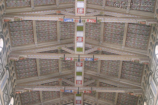 Ceiling (600Wx400H) - Timber painted roof od S.Miniato central nave. (Photo by Paolo Ramponi)